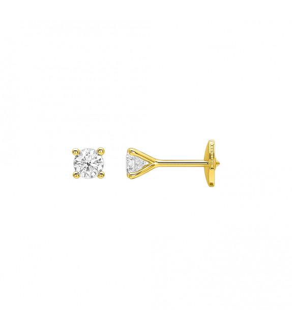 Boucles d'oreilles Femme - Or 18 Carats - Diamant 0,45 Carats