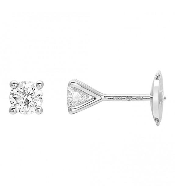 Boucles d'oreilles Femme - Or 18 Carats - Diamant 0,6 Carats