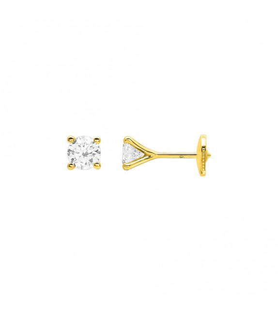 Boucles d'oreilles Femme - Or 18 Carats - Diamant 0,8 Carats
