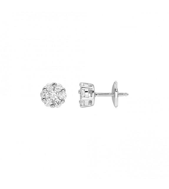 Boucles d'oreilles Femme - Or 18 Carats - Diamant 0,5 Carats