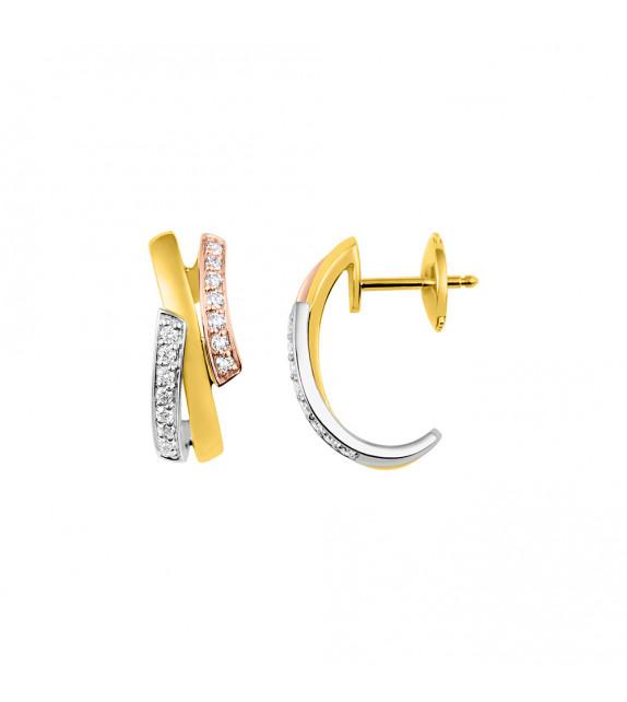 Créoles Femme - Or 18 Carats - Diamant 0.20 Carats